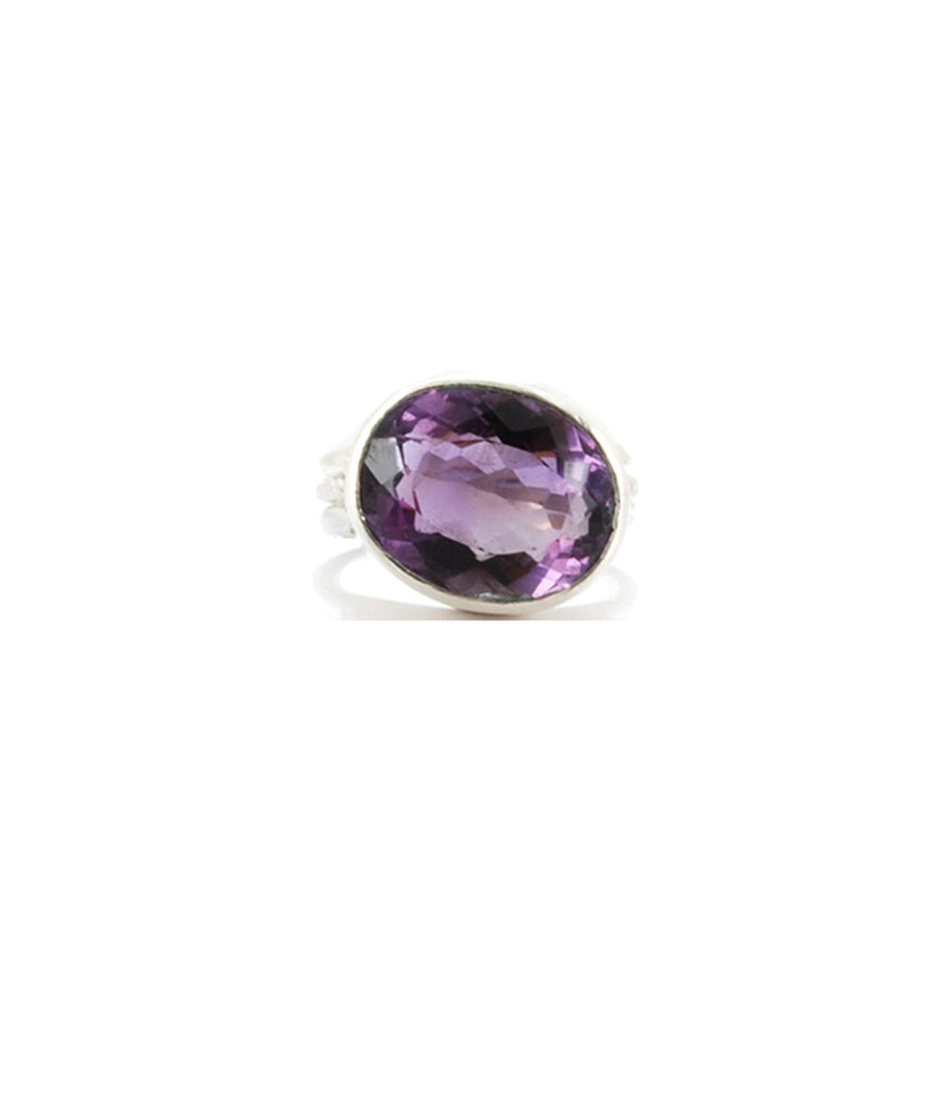 Deep Purple Amethyst Sterling Silver  925 Pope Ring