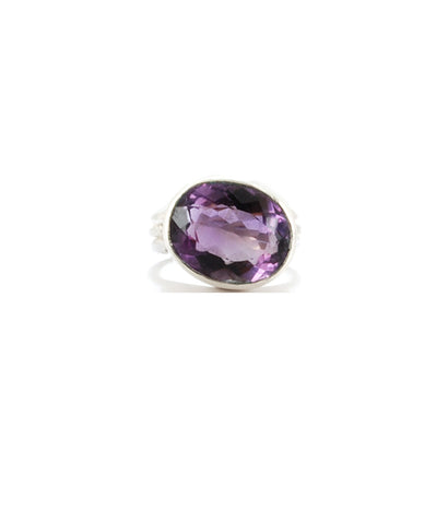 Deep Purple Amethyst Sterling Pope Ring