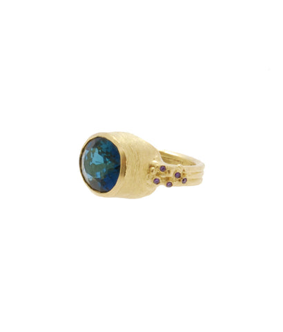 Gold Royal Blue Topaz Cocktail Ring