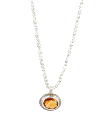 Citrine Pendant Sterling Silver Necklace