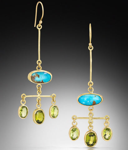 Chandelier Earring with Turquoise and Peridot