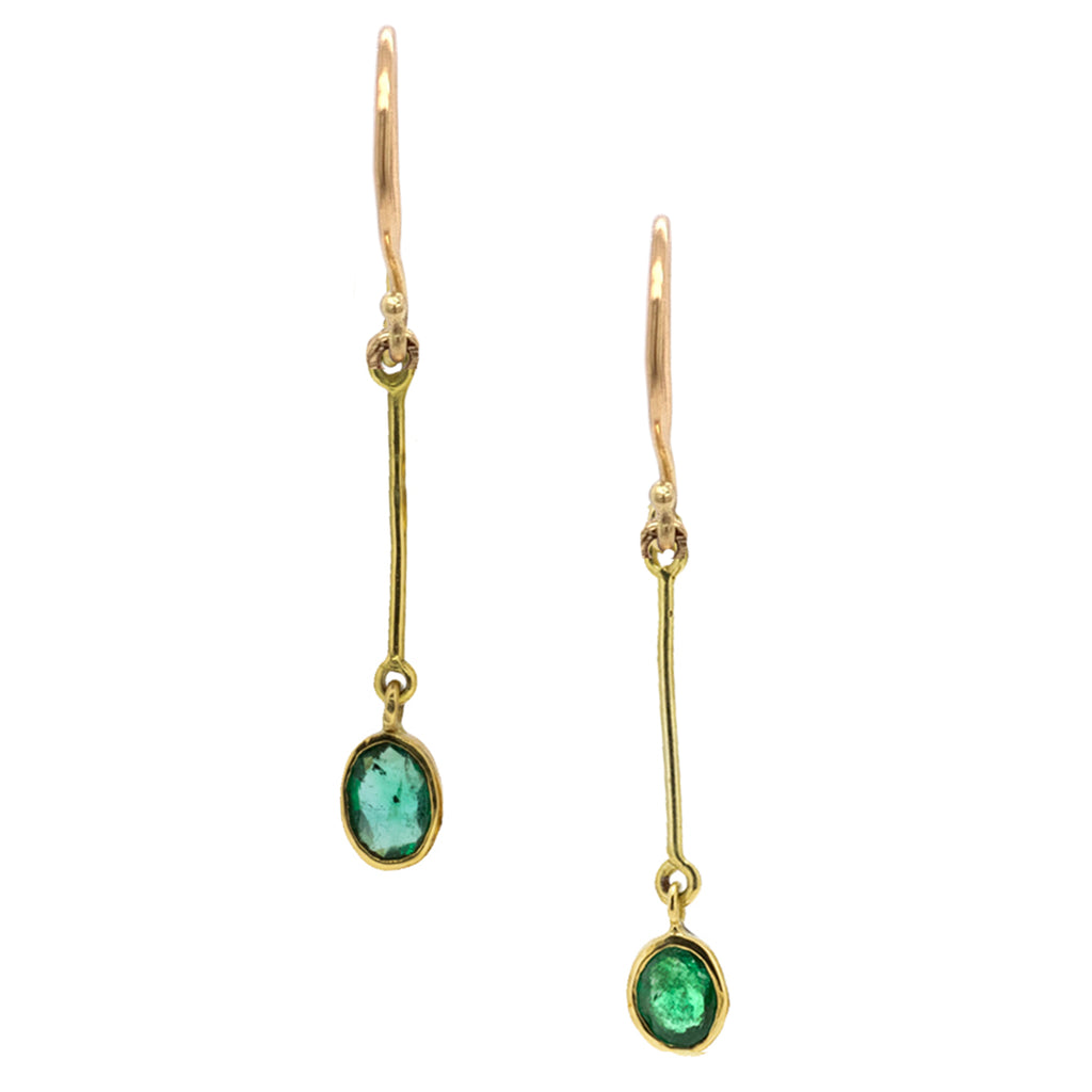 Deco Emerald and Tourmaline Gold Earrings