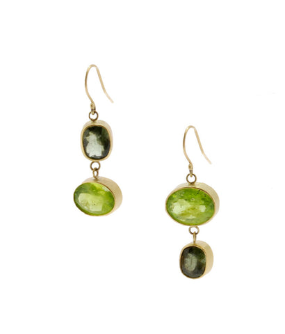 18K Gold Double Peridot Earrings