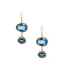 Double Decker 10K Gold Royal Blue Topaz Earrings