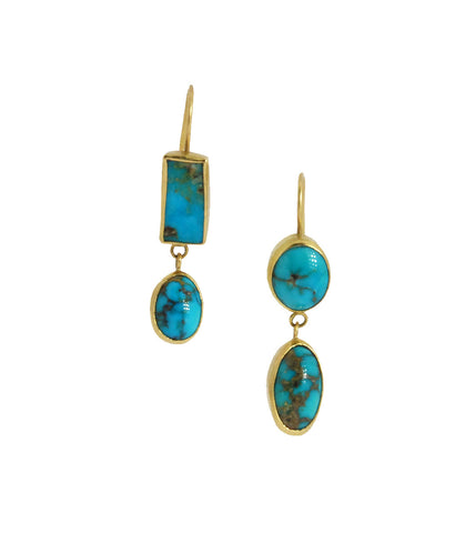 Persian Turquoise 18K Gold Earrings