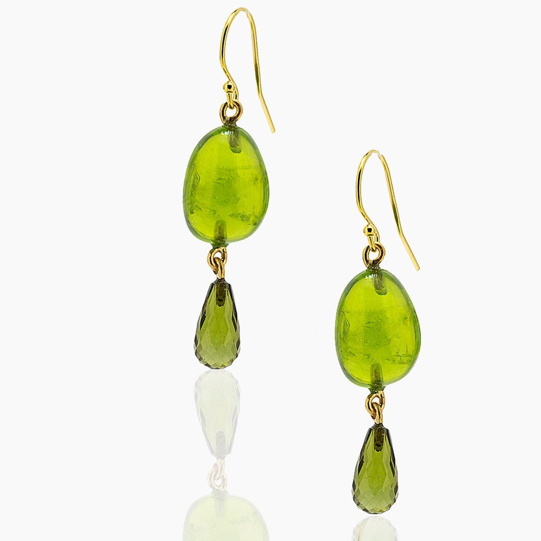 Peridot and Tourmaline Drop Earrings