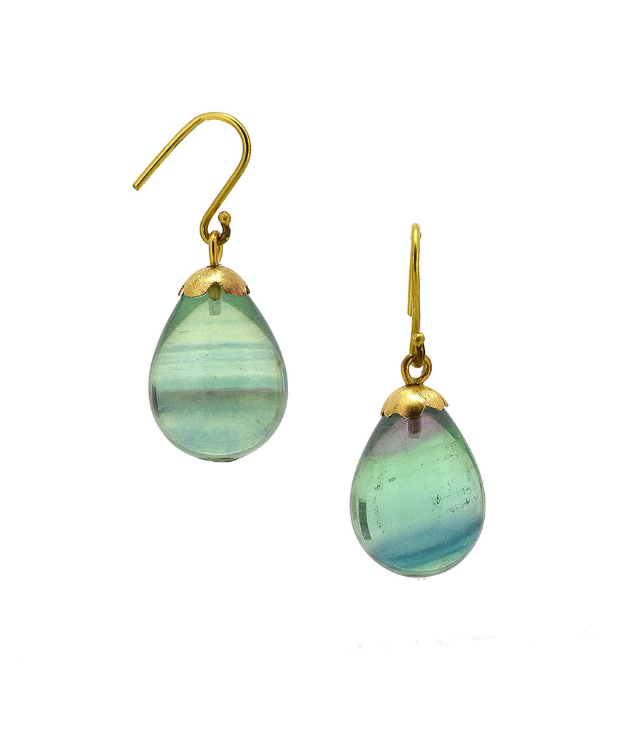 Fluorite Drop Earrings on 18K