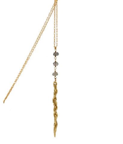 18K Gold Dagger Pendant Necklace