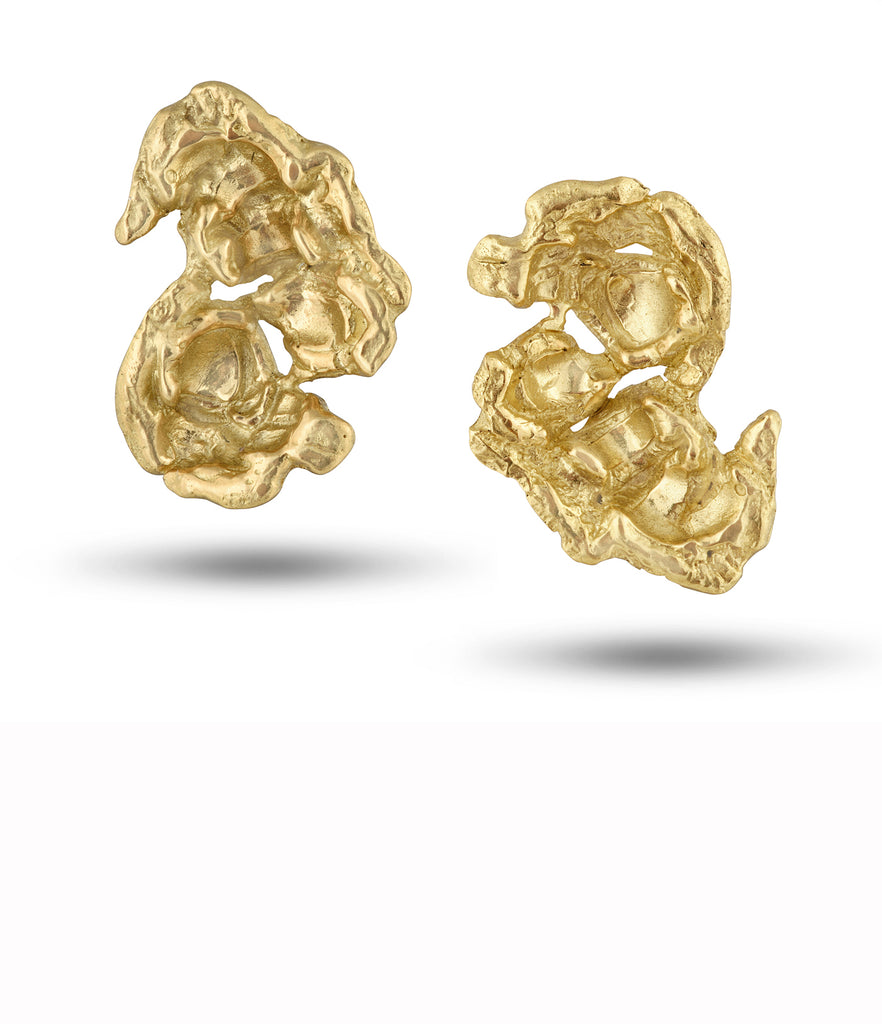 18K Gold or Sterling Silver Popcorn Earrings