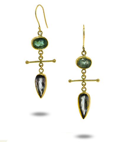 Grey and Green Tourmaline Earrings
