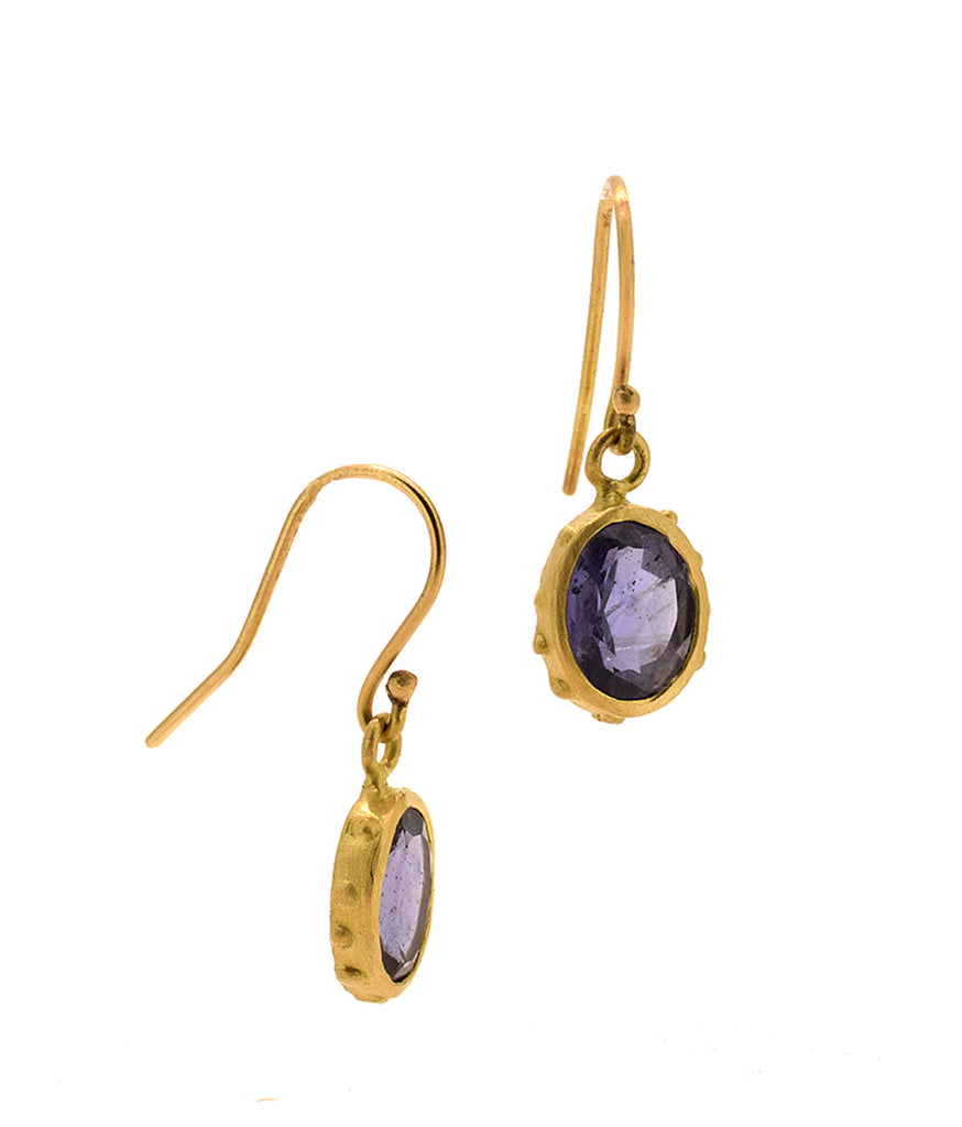 Iolite 18K Greek Earrings