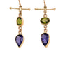 Iolite and Peridot Cross Bar Earrings