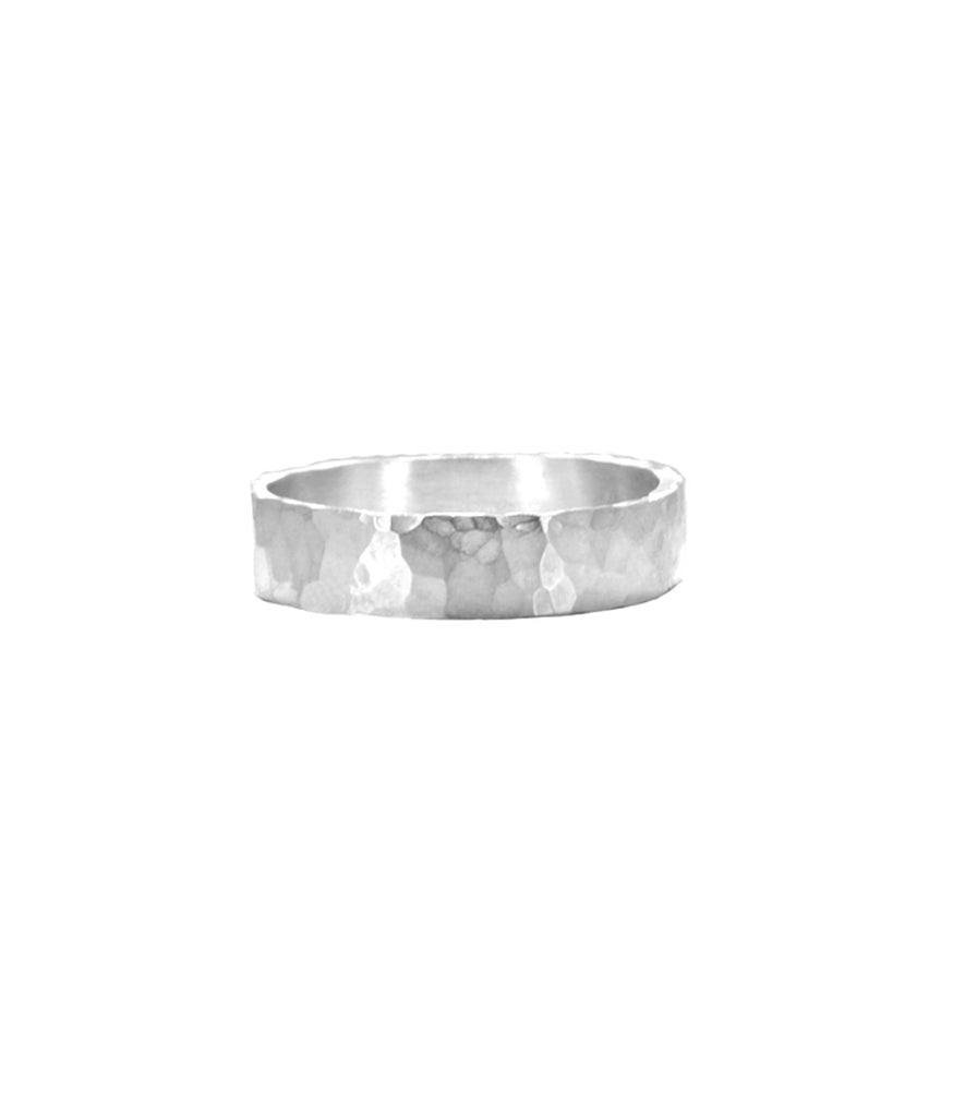 """The Alan"" Men's Hammered  Sterling Silver 925 Ring Band"