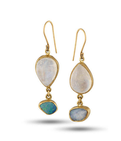 Moonstone Opal 18K Earrings