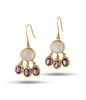 Moonstone Amethyst 18K Gold Earrings