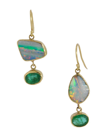 Opal Emerald Earrings