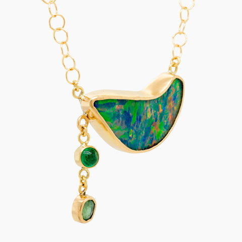 Opal Emerald Tourmaline Gold Necklace