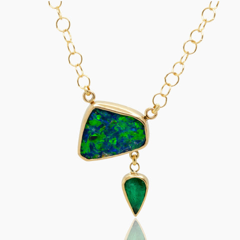 Opal Emerald Gold Necklace