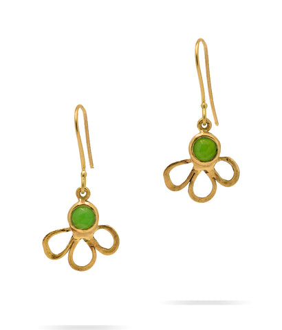 Open Flower Chrysoprase Earrings