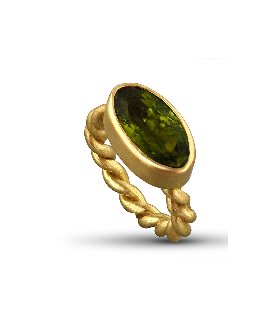 Peridot Rope Ring