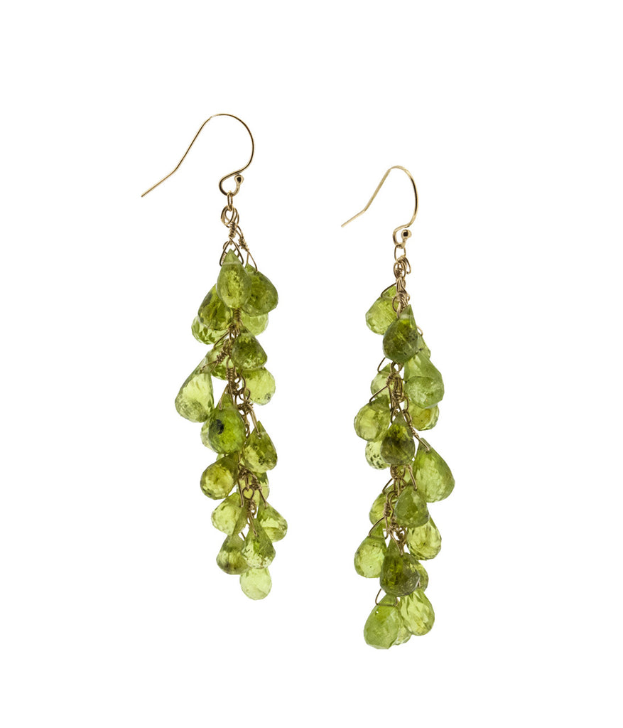 Faceted Peridot Waterfall Earrings