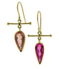 Rubellite and Tourmaline 18K Drop Earrings