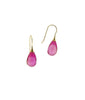 Brilliant Hot Pink Topaz Smooth drop 14K earrings