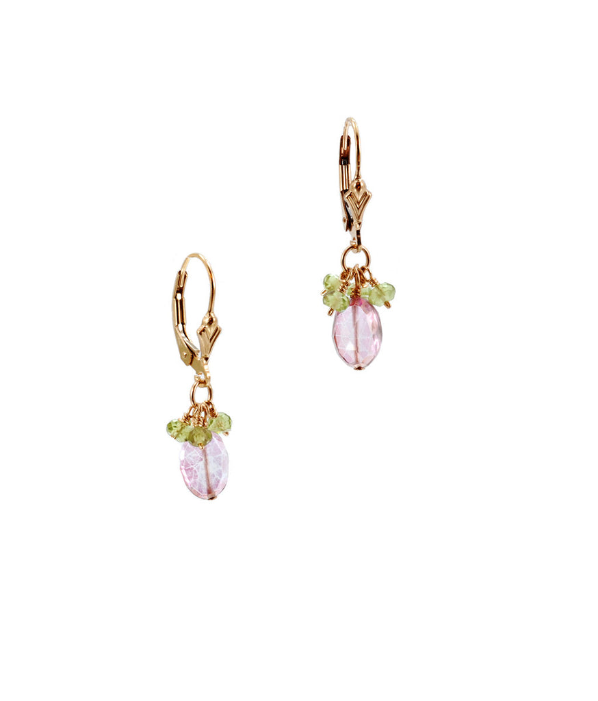 Pink Topaz and Peridot Cluster Earring