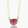 18K Gold Pink Tourmaline  Necklace