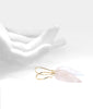 Rose Quartz Smooth drop 14K earrings