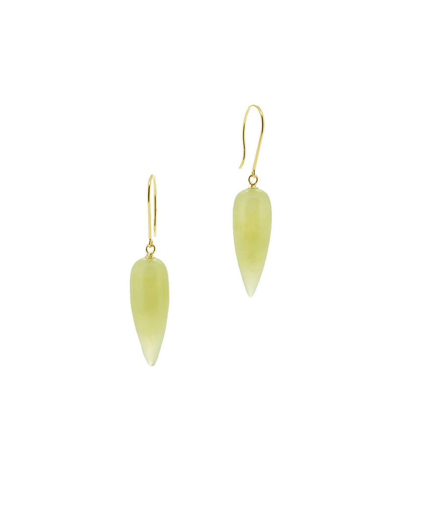 Green Serpentine Smooth drop 14K earrings