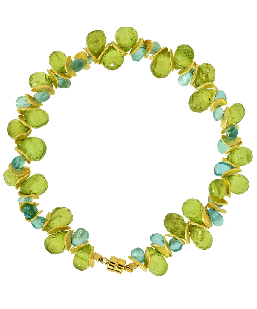 Signature Bracelet in Peridot and Aqua Apatite