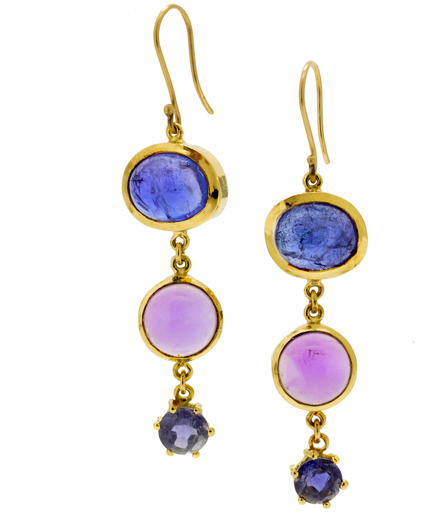 Tanzanite Amethyst Iolite Tiered Earrings