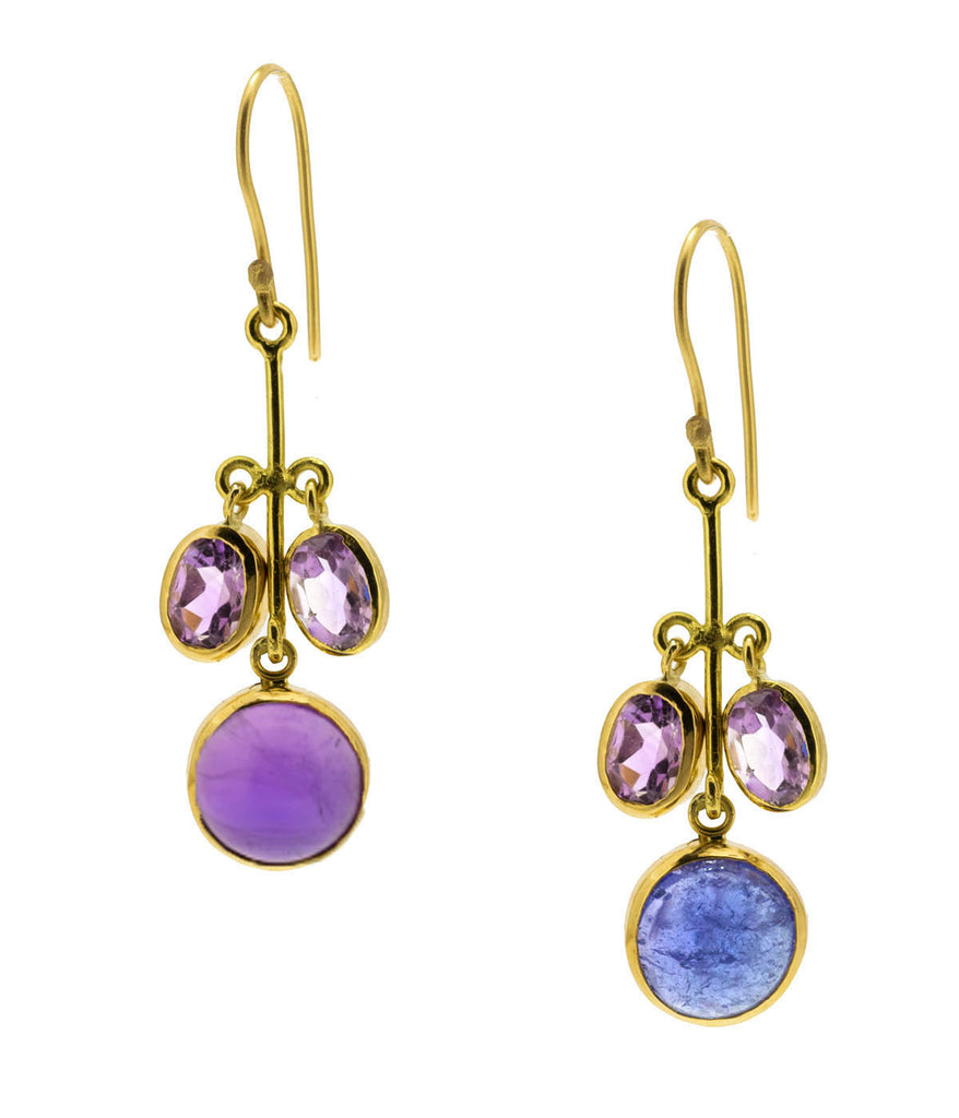Tanzanite & Amethyst Flower Drop Earrings