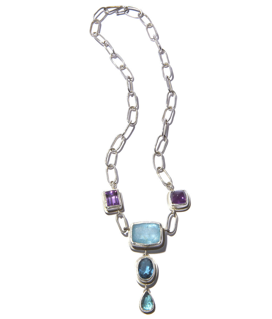 Aquamarine, London Blue Topaz, Amethyst, Pariba Sterling Silver Necklace