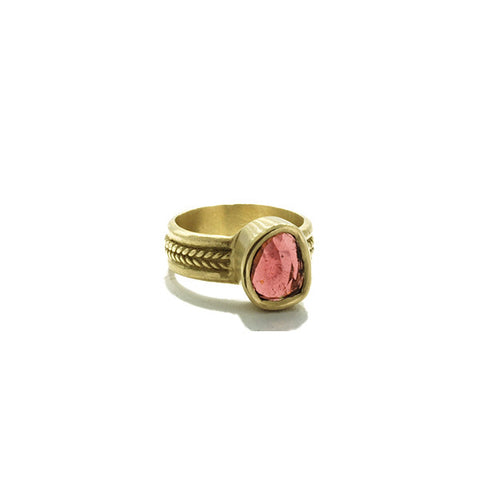 10K Gold Pink Tourmaline Ring