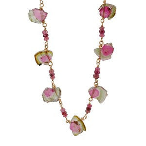 Watermelon Tourmaline Slices Necklace