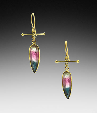 Watermelon Tourmaline Pear 18K Drop Earrings