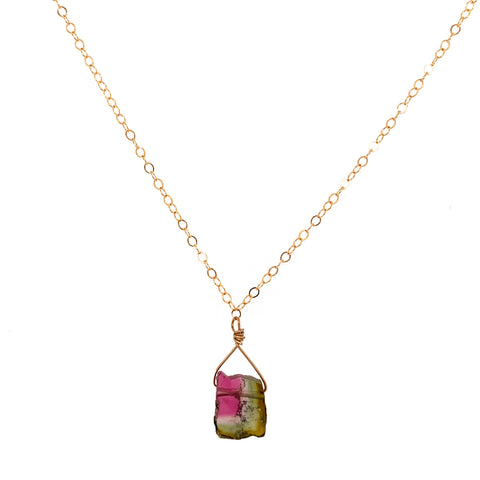 Watermelon Tourmaline Slice Necklace