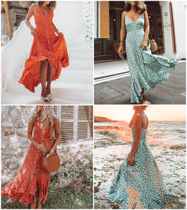 Women Elegant Polka Dot Boho V-Neck Strap Button A-Line Midi Summer Dress