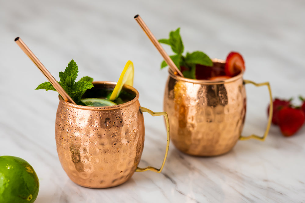 Pure Copper Mule Mug - 500ml (Set of 2) with 2 Copper Straws