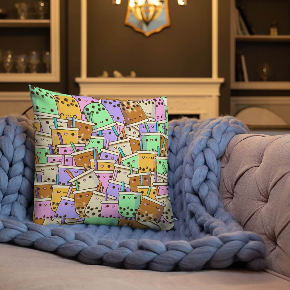 Boba Collage Throw Pillow Bubble tea Boba Tea