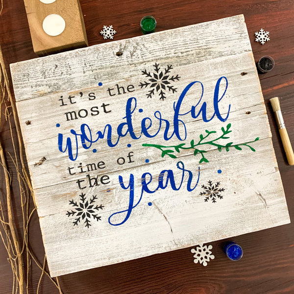 It's The Most Wonderful Time of the Year - Whitewashed Rustic Sign Craft Kit