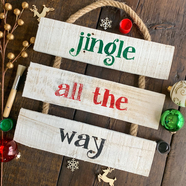 Jingle All The Way - Christmas Whitewashed Rope Ladder Sign
