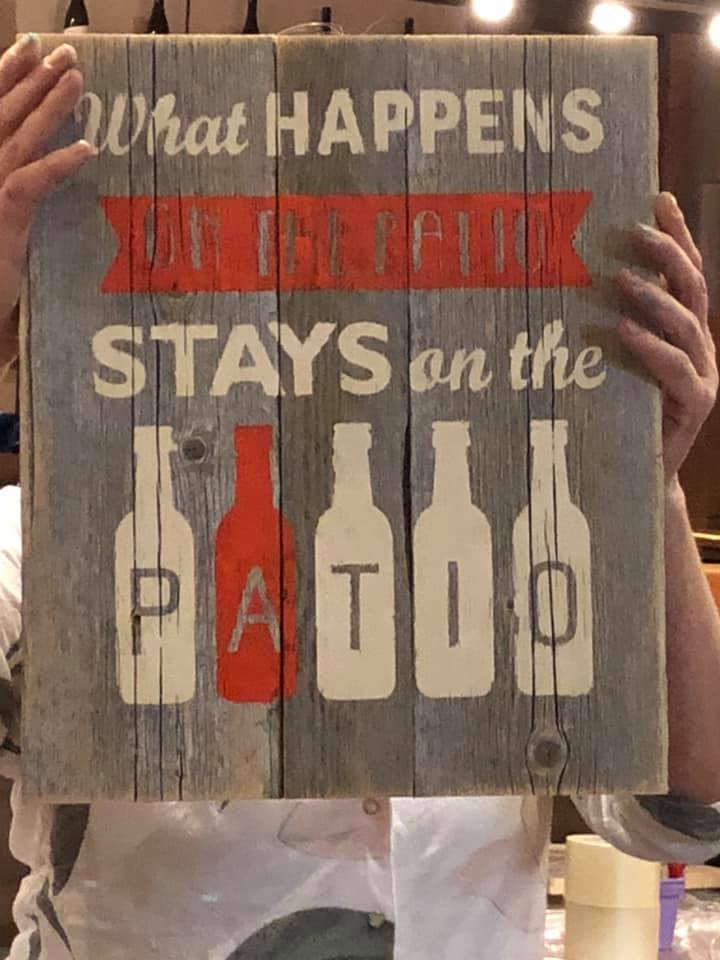 What Happens On the Patio Stays on the Patio Rustic Outdoor Reclaimed Wood Sign