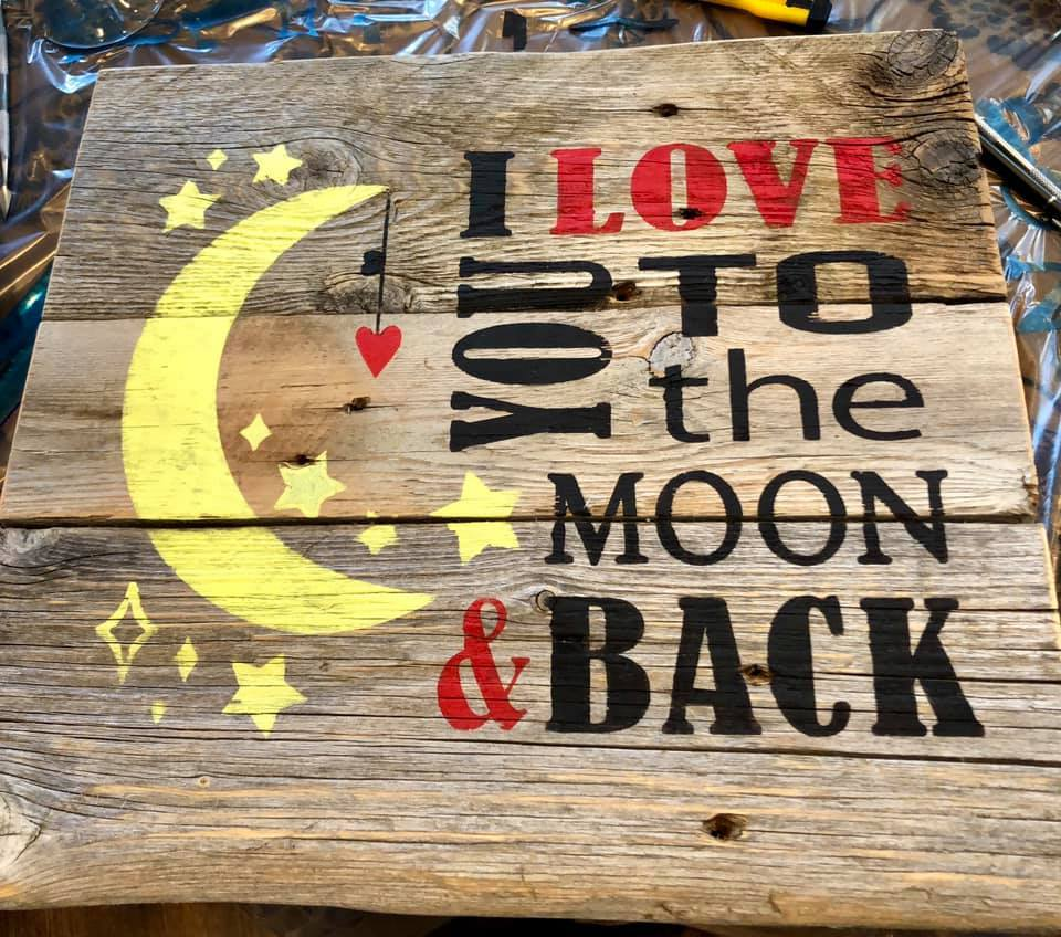 Love you to the moon and back rustic farmhouse cottage gray wooden sign