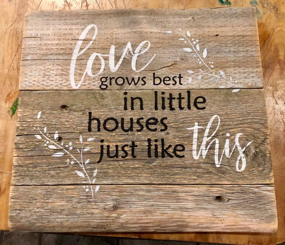 Love grows best cottage farmhouse rustic gray home decor sign