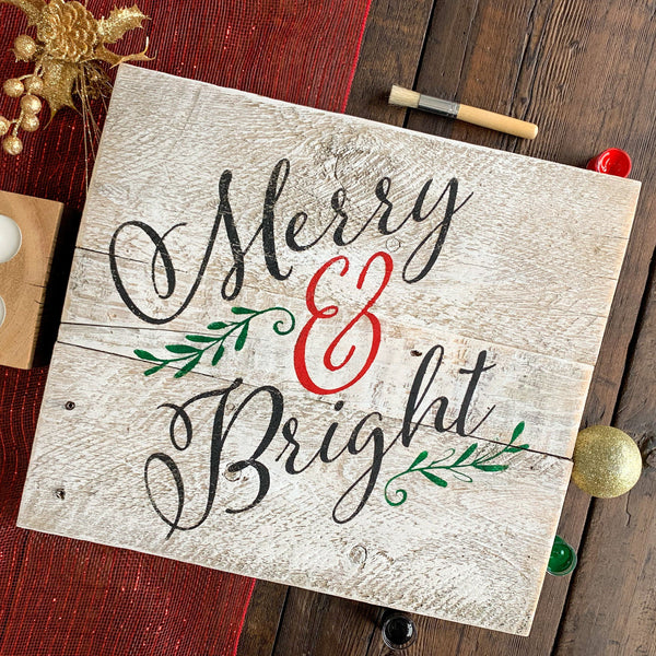 Merry & Bright - Whitewashed Rustic Sign Craft Kit