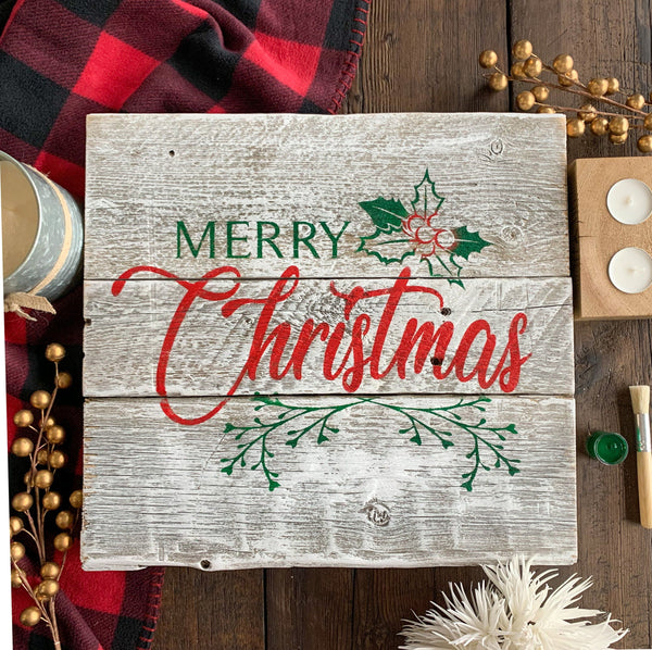 Merry Christmas - Whitewashed Rustic Sign Craft Kit