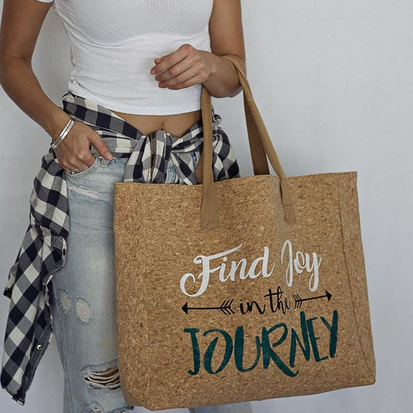"""Find Joy in the Journey"" Cork Leather Tote Craft Kit"